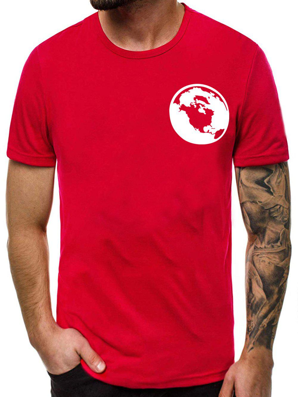 Casual Graphic Print Round Neck T-shirt - RED M