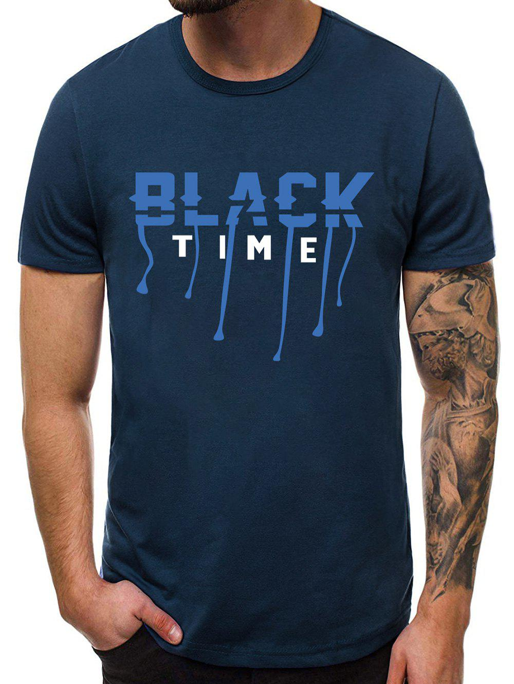 Letter Graphic Pattern Casual T-shirt - CADETBLUE M