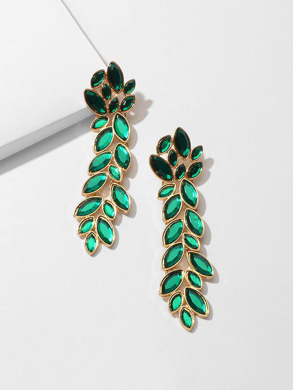 Rhinestone Leaf Vine Pattern Drop Earrings - GREEN