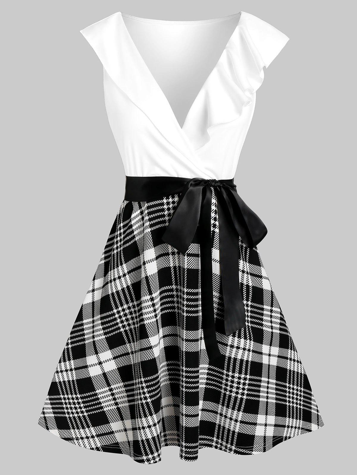 Plaid Print Plunge Neck Belted Flare Dress - WHITE XL