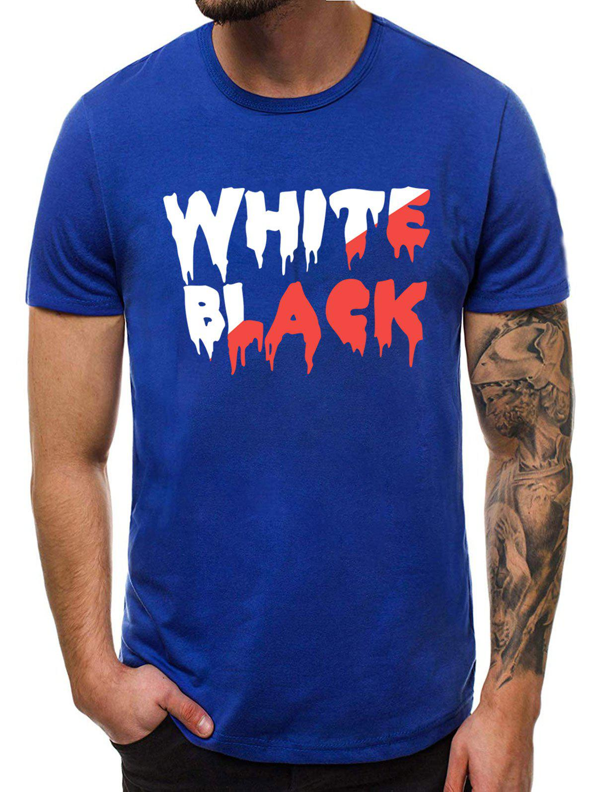 Casual Graphic Pattern Short Sleeves T-shirt - BLUE M