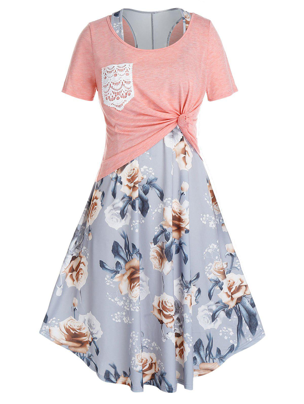 Plus Size Racerback Floral Dress With Knotted Tee Set - PINK 5X