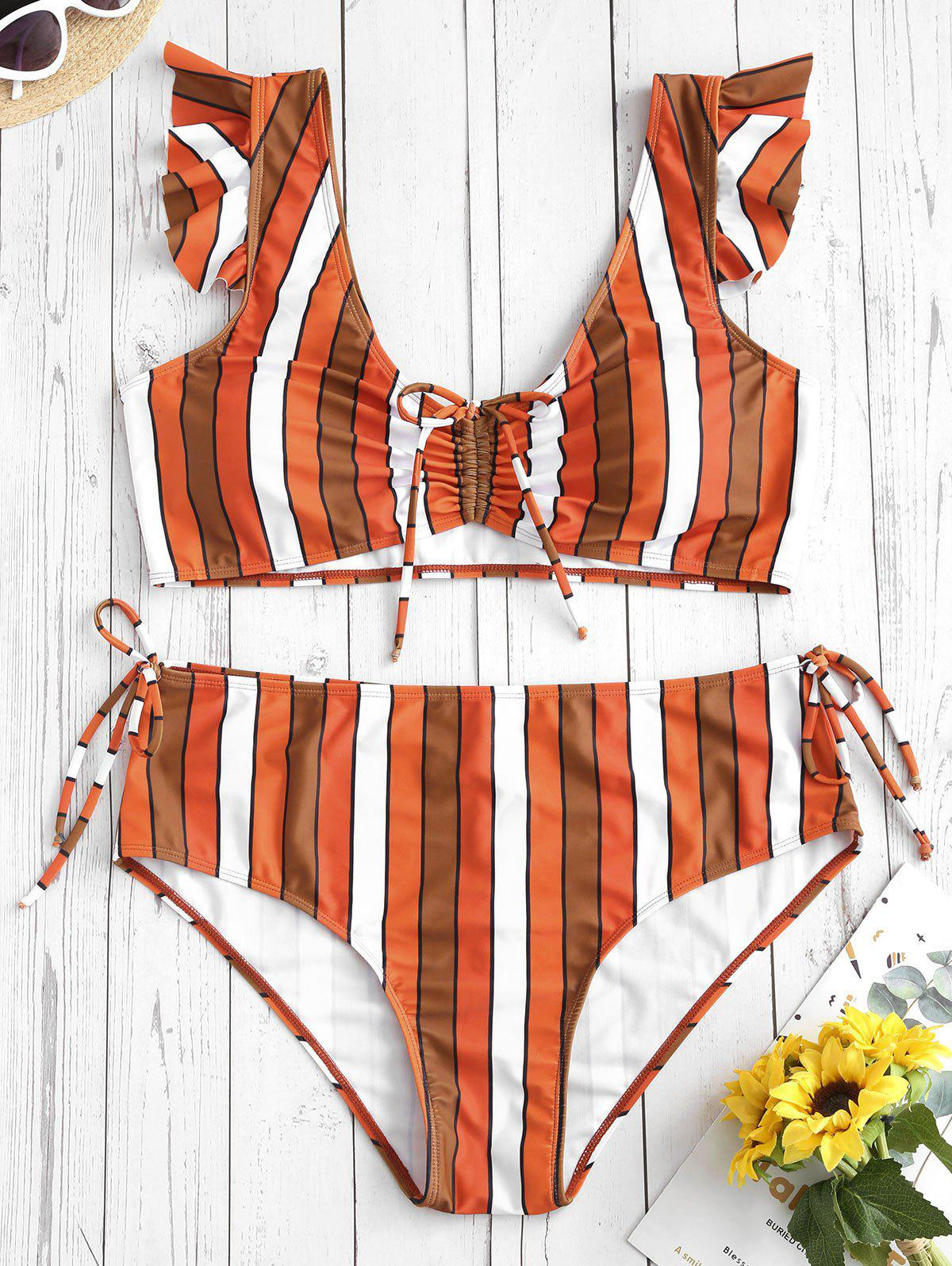 Striped Cinched Ruffle Plus Size Bikini Set - PAPAYA ORANGE 2X