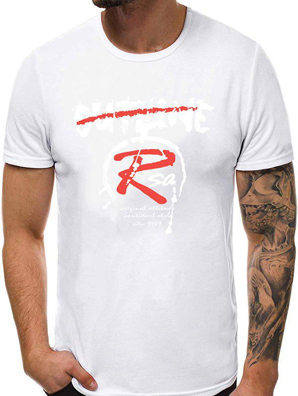 Letter Pattern Casual Round Neck T-shirt - WHITE 2XL