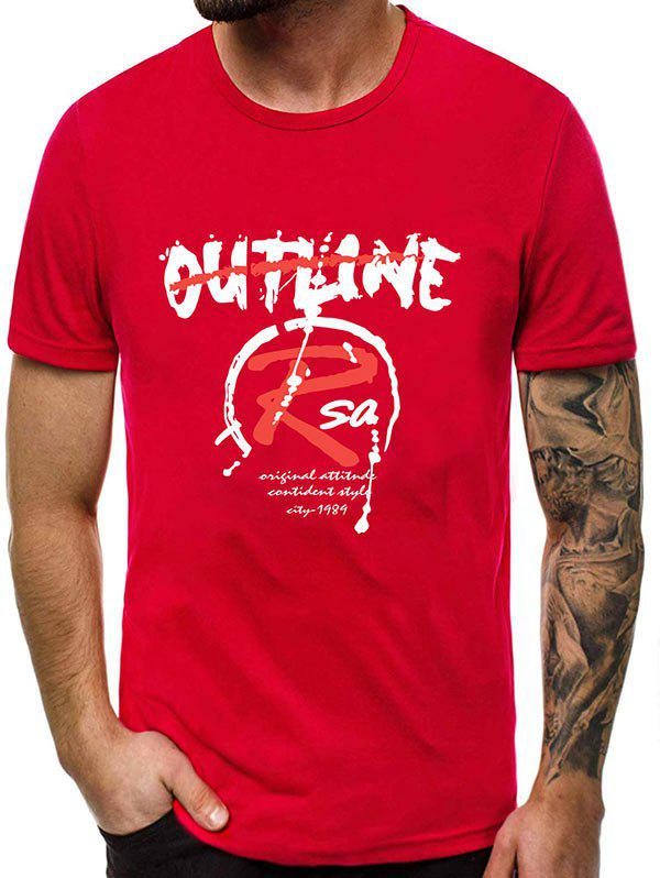 Neck Casual Motif Lettre rond T-shirt - Rouge XL