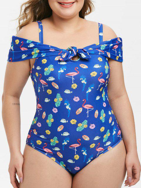 Plus Size Printed Front Knot Cold Shoulder One-piece Swimsuit