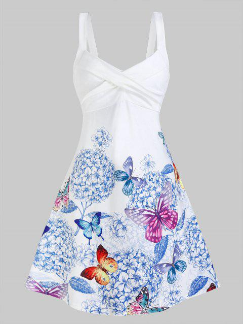 Butterfly and Flower Print Sleeveless Crossover Dress