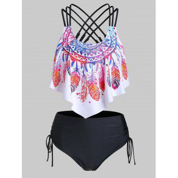 Feather Print Strappy Cinched Tankini Swimwear