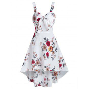 Floral Print Sleeveless Knotted High Low Dress