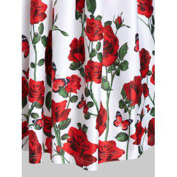 Rose Floral Printed Fit And Flare Dress