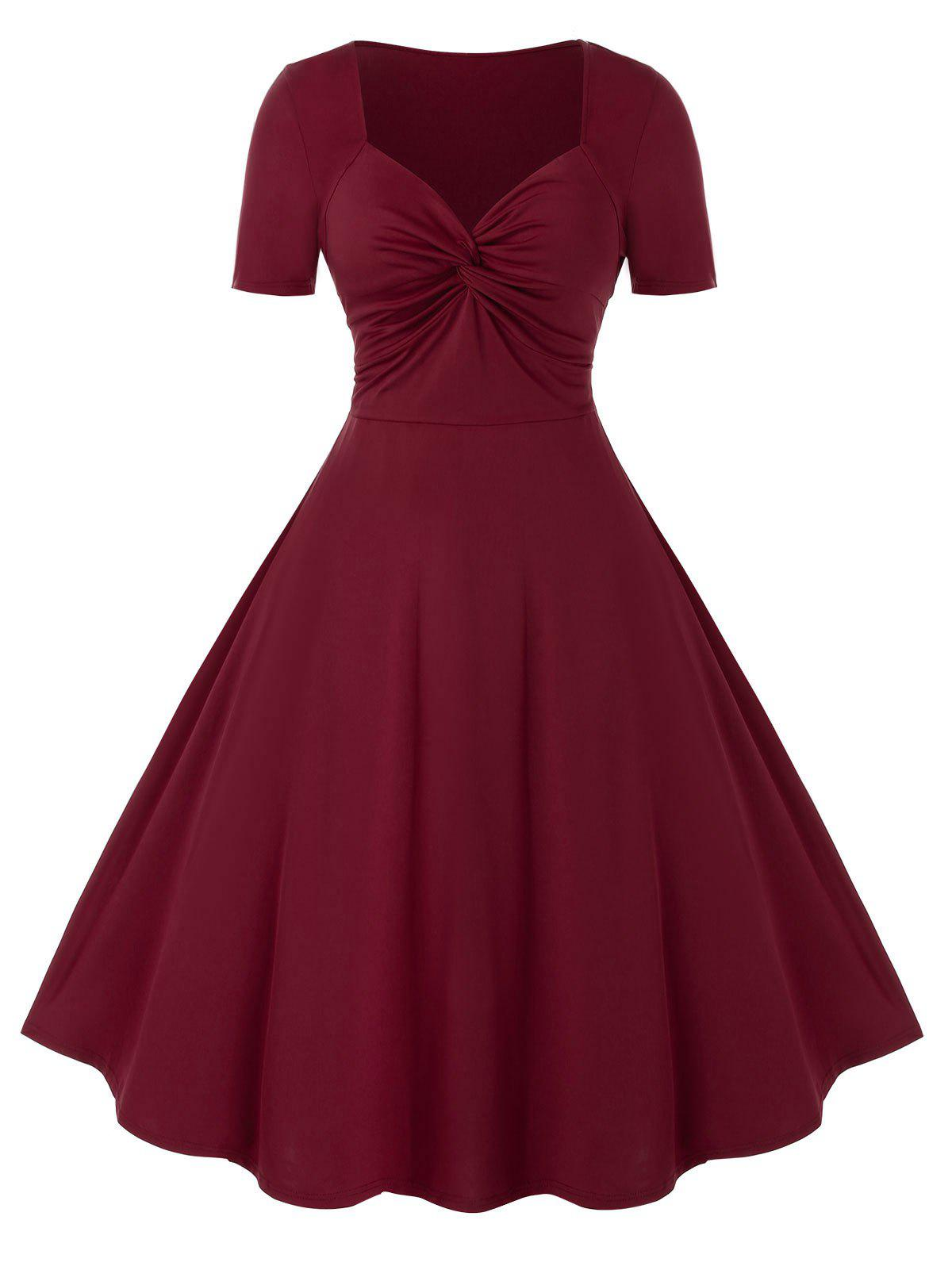 Plus Size Knot Dress - Rouge Lave 3X