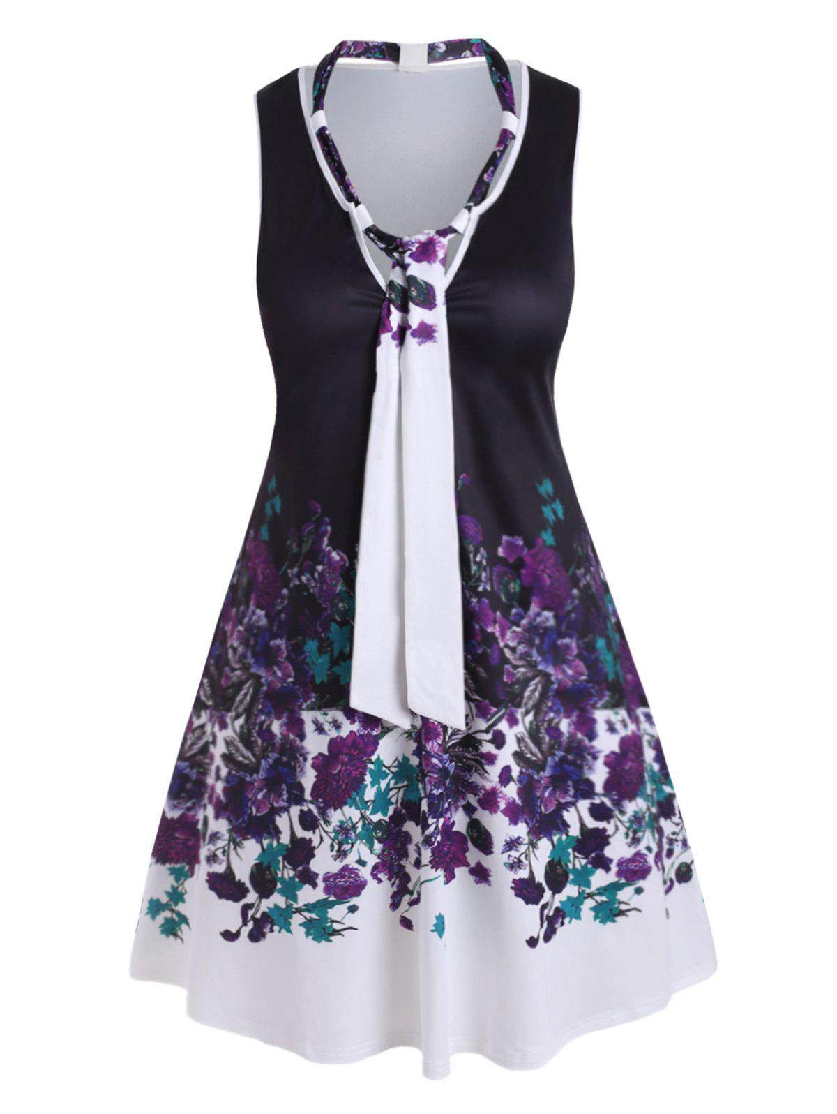 Plus Size Bowknot Tie Floral Print Dress - WHITE 2X