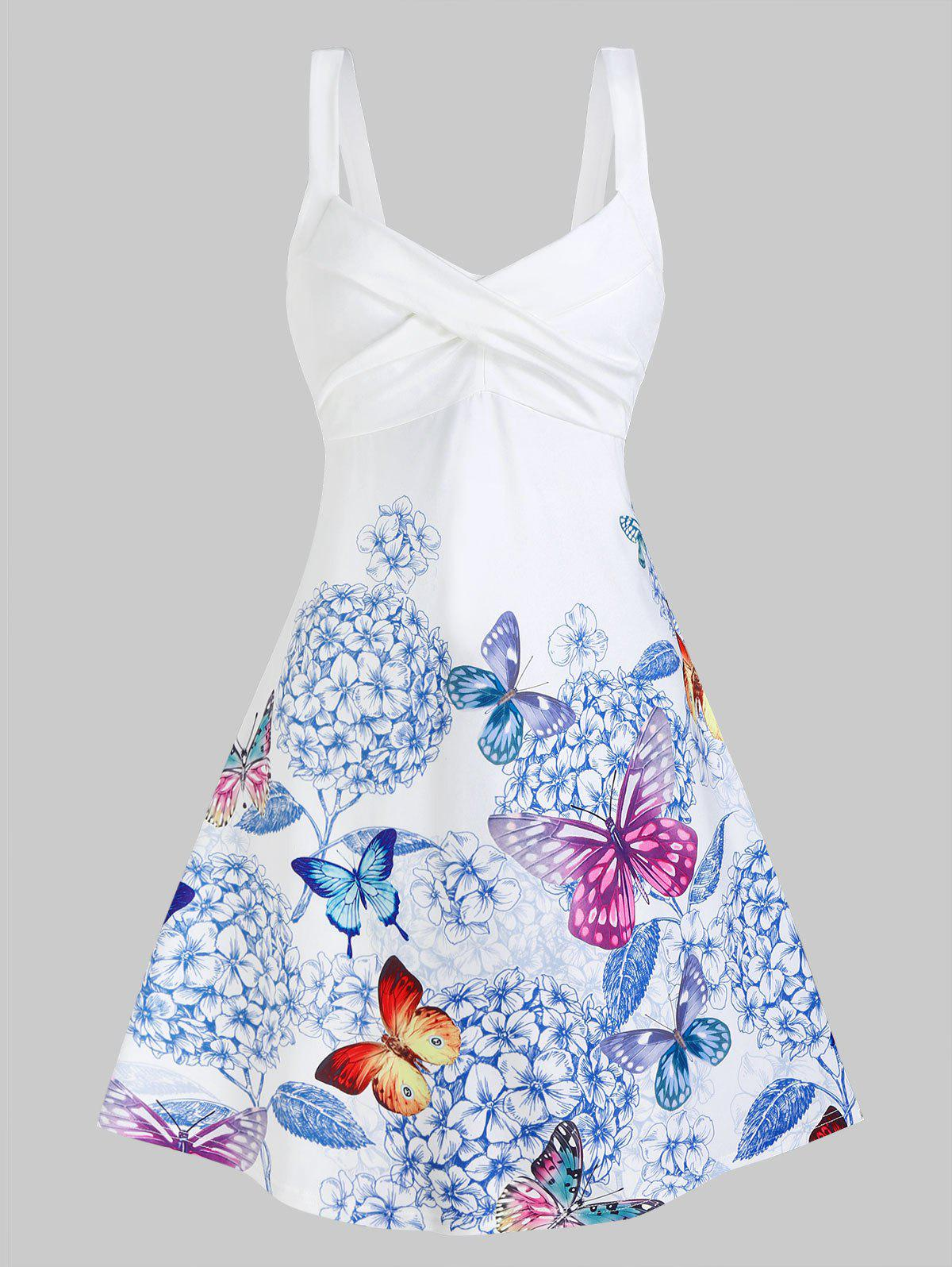 Butterfly and Flower Print Sleeveless Crossover Dress - WHITE XL