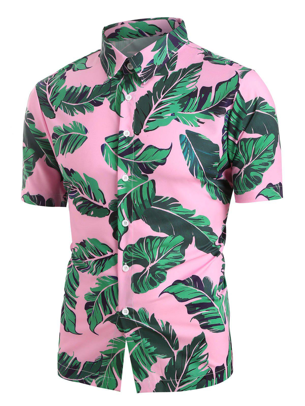 Leaf Printed Button Short Sleeves Shirt - PINK 2XL
