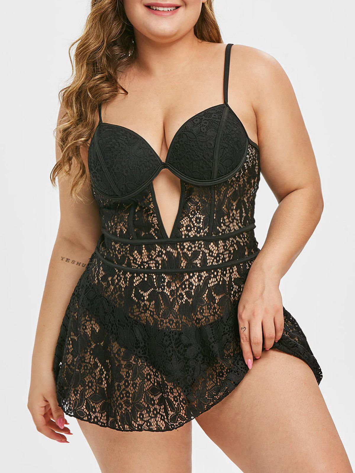 Plus Size Lace Push Up tankini Set - Noir L