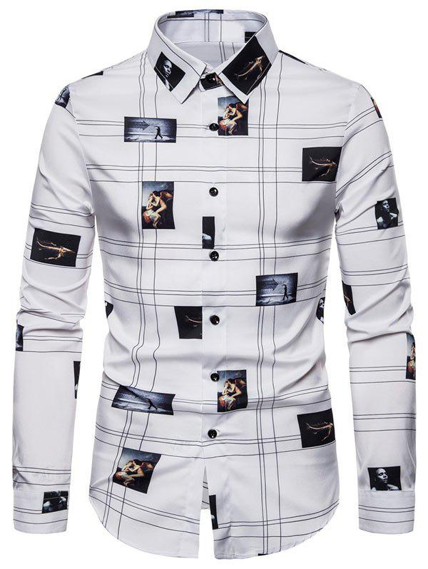 Graphic Pattern Button Long-sleeved Shirt - WHITE 2XL