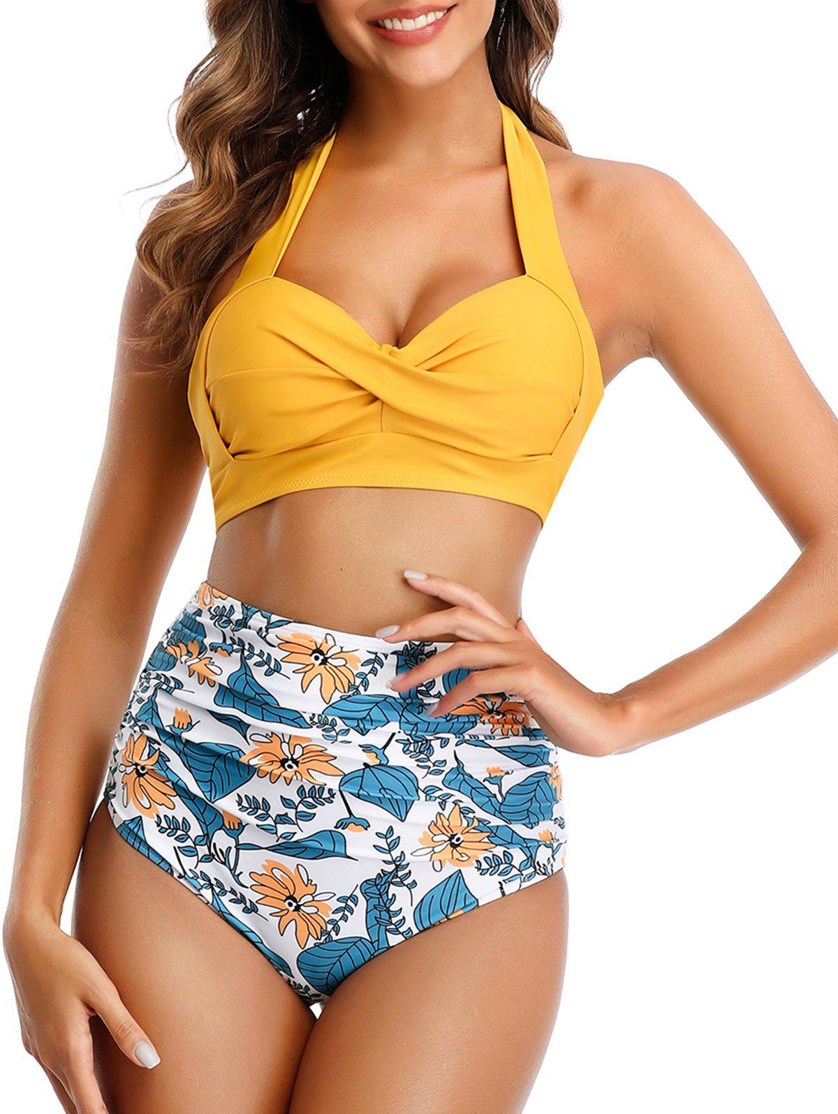 Floral Leaves Twist Knotted Bikini Swimsuit - GOLDENROD S