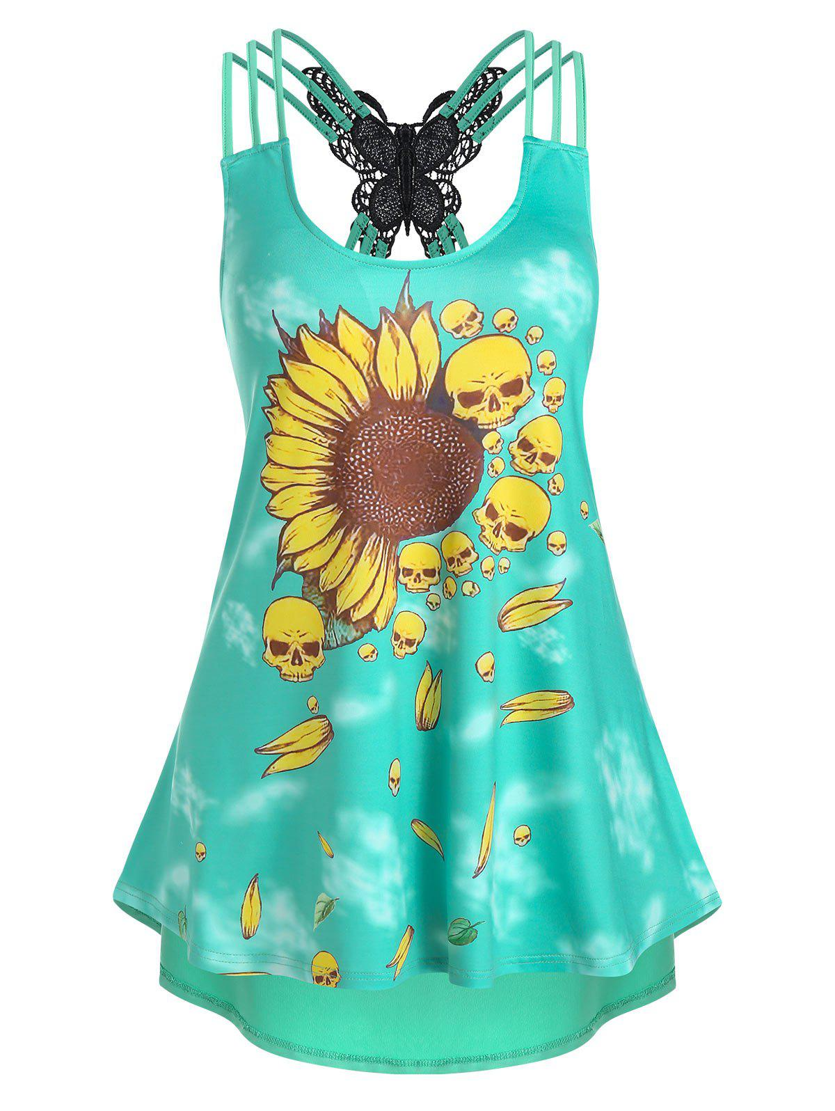 Sunflower Skull Print Strappy High Low Tank Top - AQUAMARINE 2XL