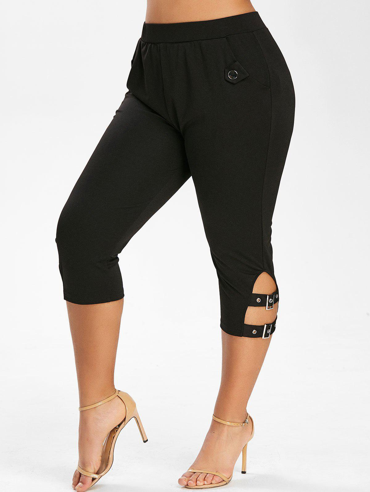 Plus Size High Rise Buckles Cropped Pants - BLACK 2X
