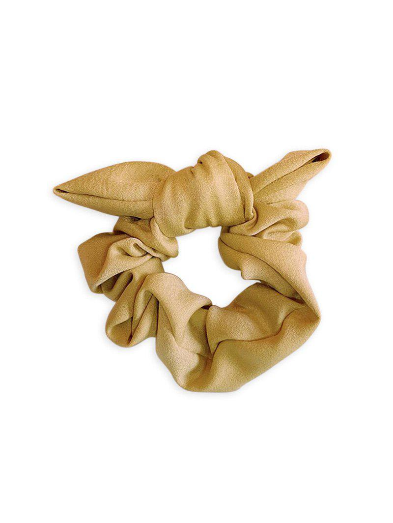 Solid Bowknot Elastic Fabric Scrunchy - YELLOW