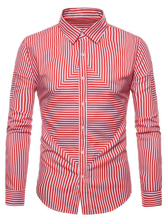 Striped Pattern Long-sleeved Button Shirt - RED 2XL