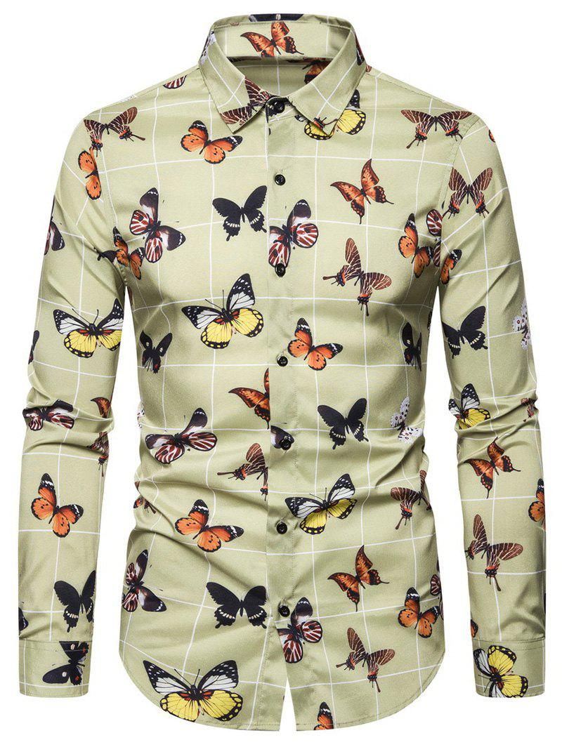 Butterfly Printed Button Long-sleeved Shirt - GINGER BROWN 2XL
