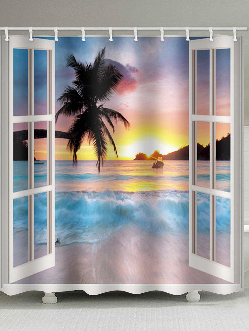Sunset Beach Tree 3D Window Print Waterproof Bathroom Shower Curtain - WISTERIA PURPLE W59 X L71 INCH