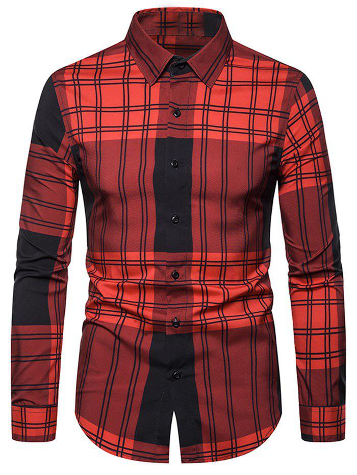 Plaid Print Button Long-sleeved Shirt - RED S