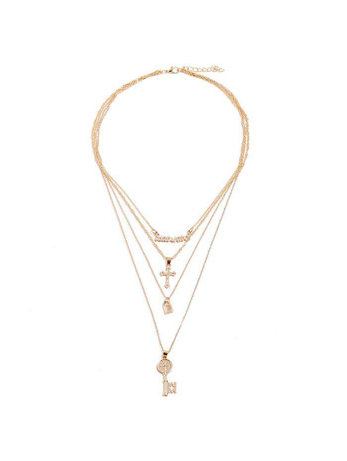 Key Lock Cross Shape Tiered Pendant Necklace - GOLD