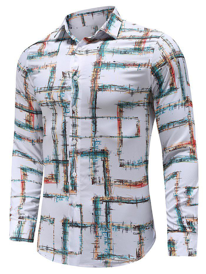 Casual Print Button Long-sleeved Shirt - WHITE 2XL