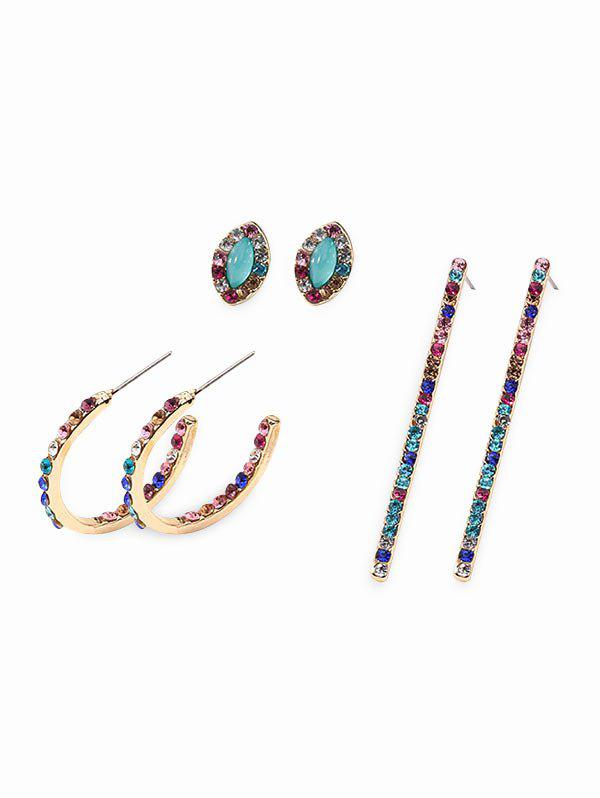 Colorful Rhinestone Geometric Stud Earrings Set - multicolor