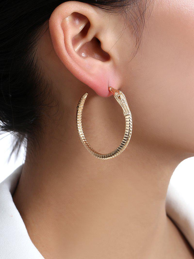 Boucles d'Oreille Cercle en Forme de Serpent - Or