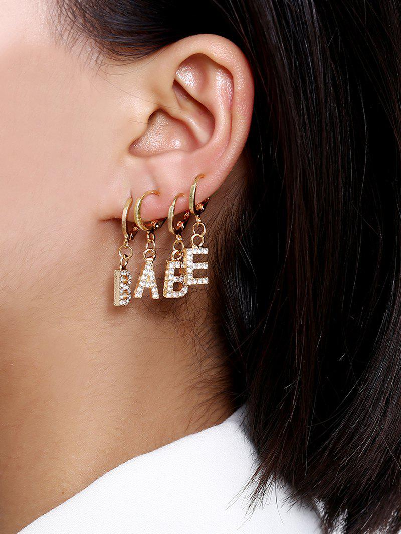 Rhinestone Letter Clip Earrings Set - GOLD