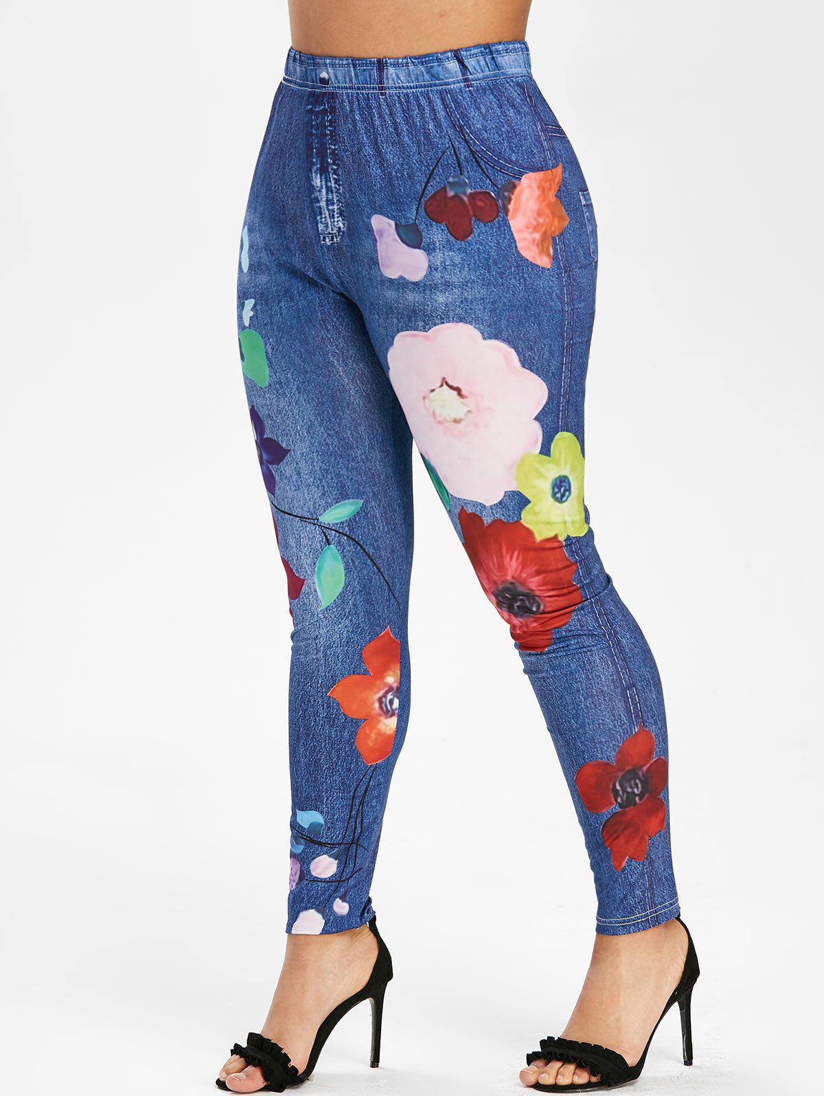 Plus Size Jeans Floral Printed Fitted Leggings - OCEAN BLUE 1X