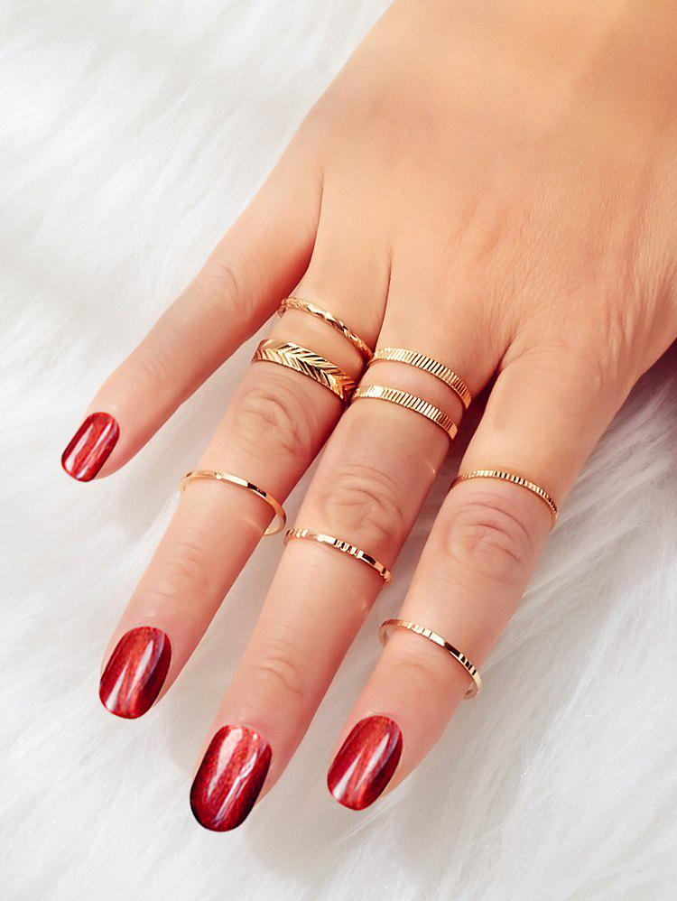 Embossed Alloy Rings Set - GOLD