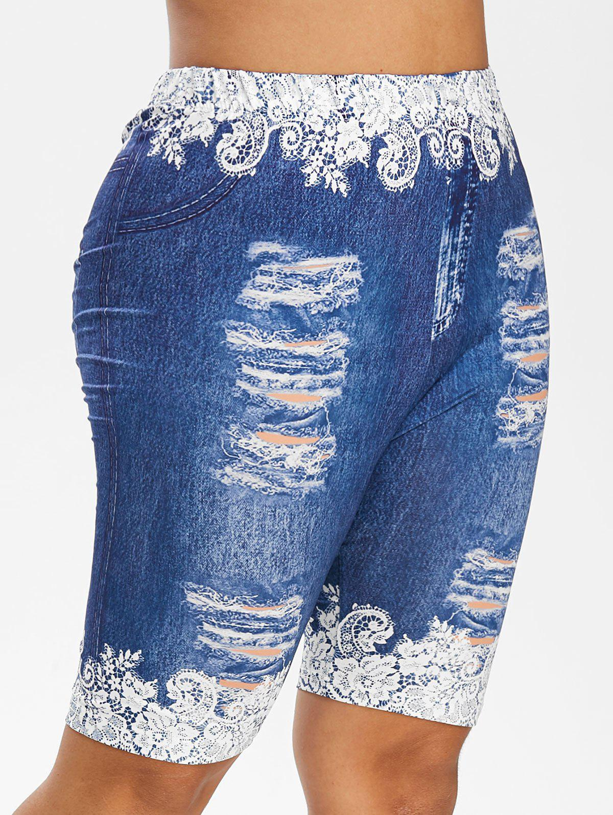 Plus Size Floral Ripped Jeans Printed Fitted Leggings - OCEAN BLUE 2X