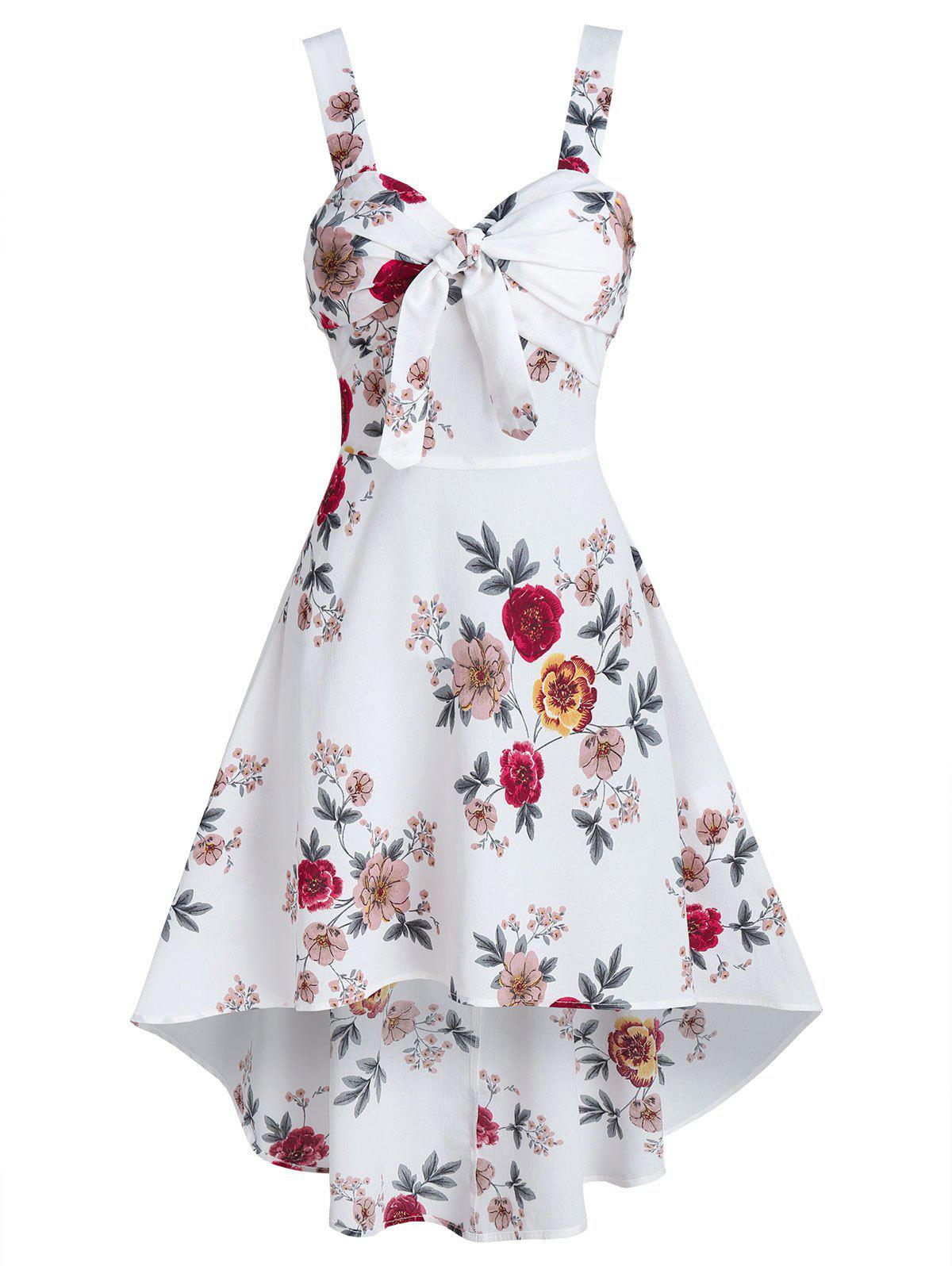 Floral Print Sleeveless Knotted High Low Dress - WHITE L