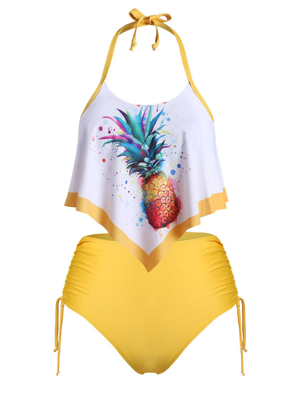 Plus Size Pineapple Print Cinched Halter Flounce Overlay Tankini Swimwear - BRIGHT YELLOW 3X