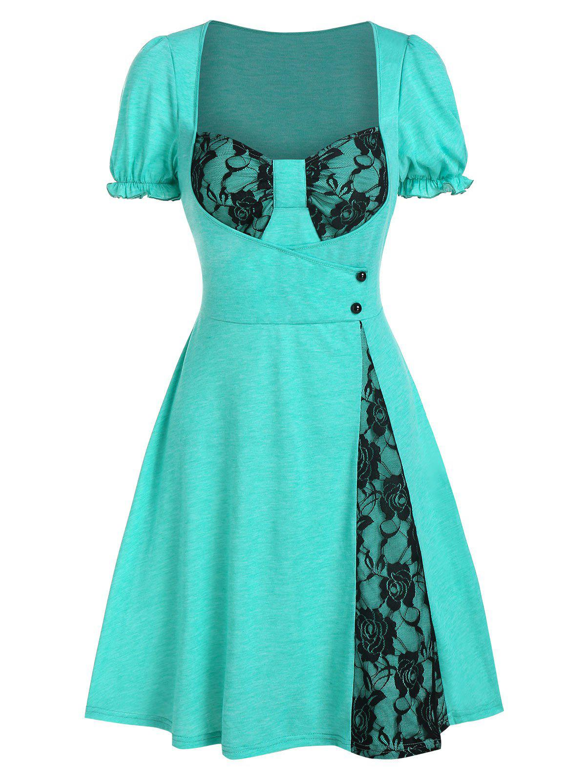 Flower Lace Insert Mock Button Flare Dress - MEDIUM TURQUOISE L