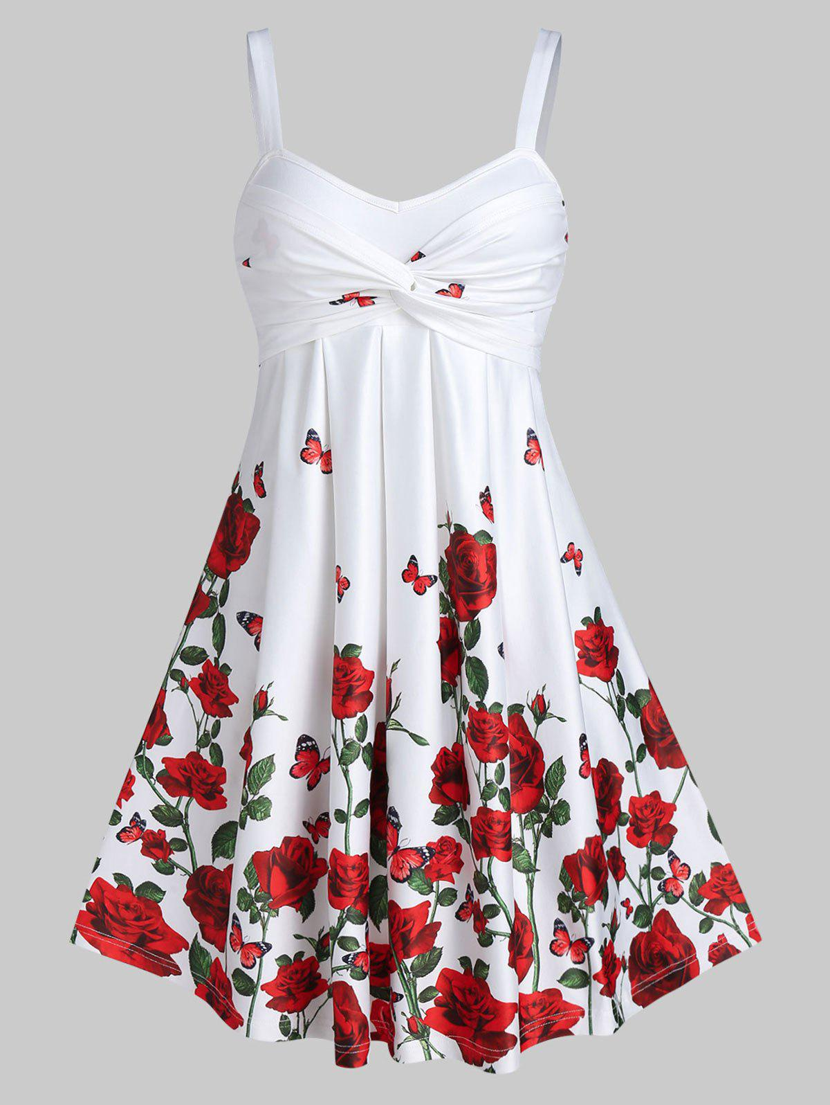 Rose Floral Printed Fit And Flare Dress - WHITE XL