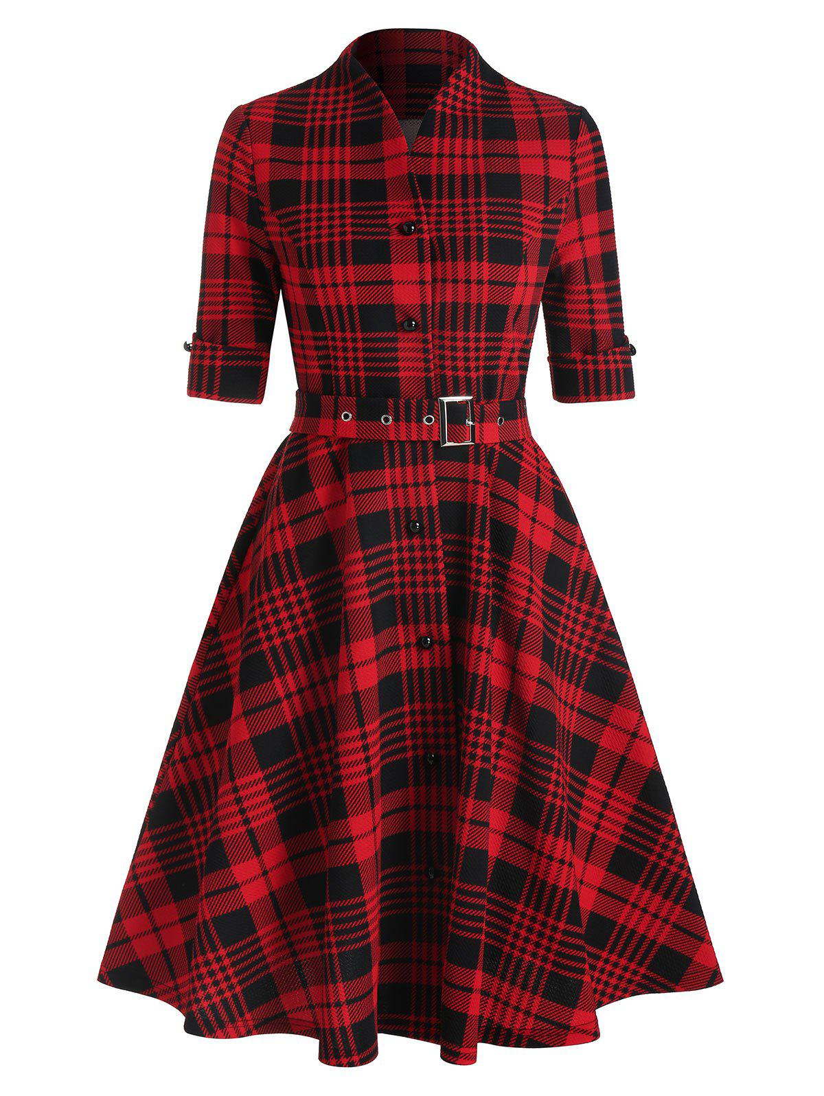 Button Belt Plaid Printed A Line Shirt Dress - RED 3XL