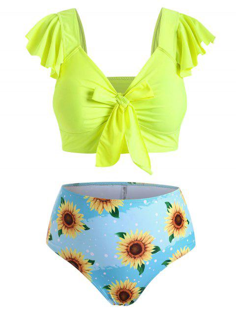 Neon Knotted Flounces Sunflower Plus Size Two Piece Swimsuit
