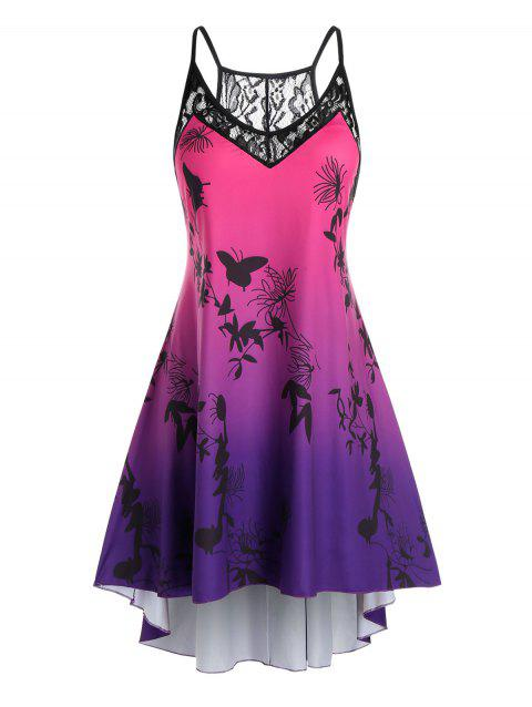 Plus Size Ombre Color Printed High Low Dress