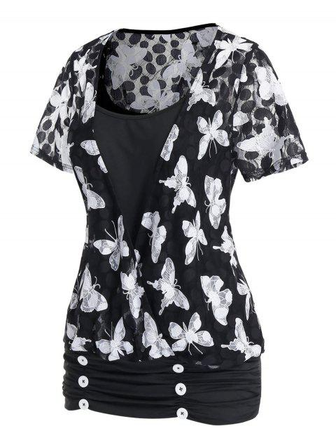 Plus Size Butterfly Ruched Surplice T Shirt