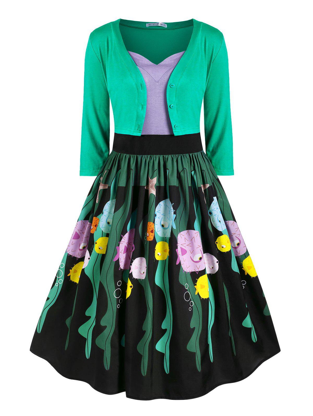 Button Up Cardigan And Funny Fish Print Strappy Dress Set - GREEN L