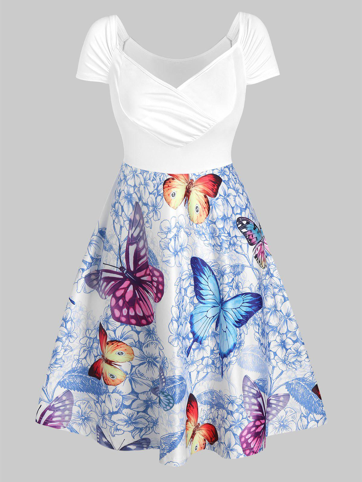 Butterfly and Flowers Print Ruched Flare Dress - WHITE M