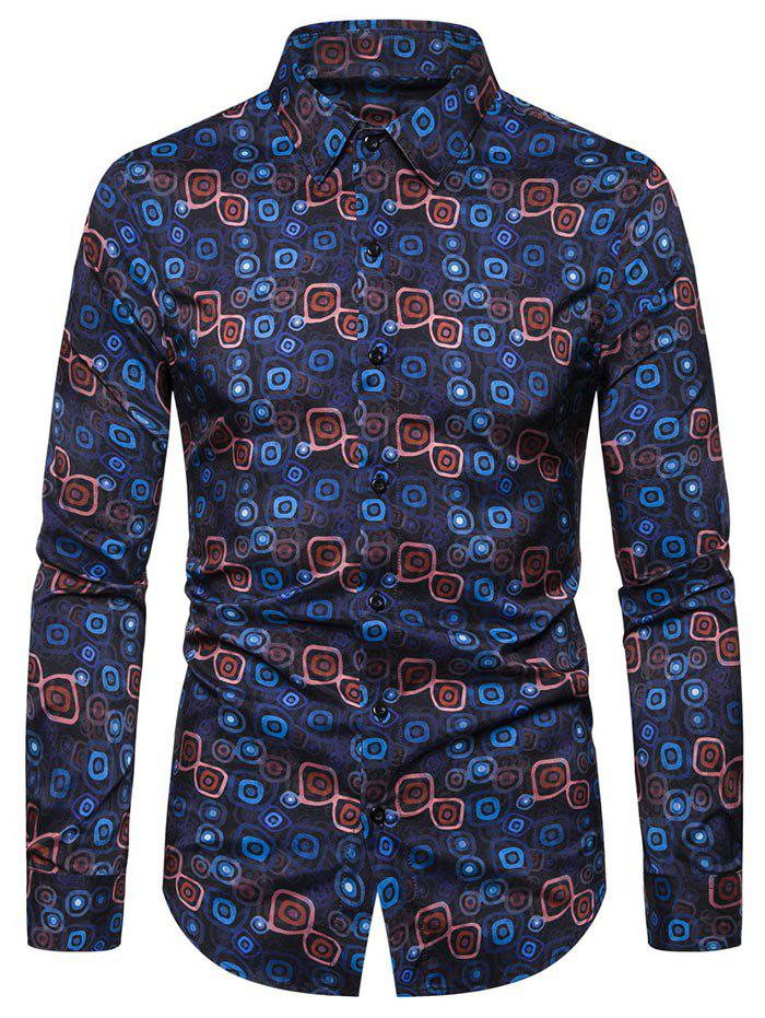 Geometric Print Button Long-sleeved Shirt - NAVY BLUE 2XL