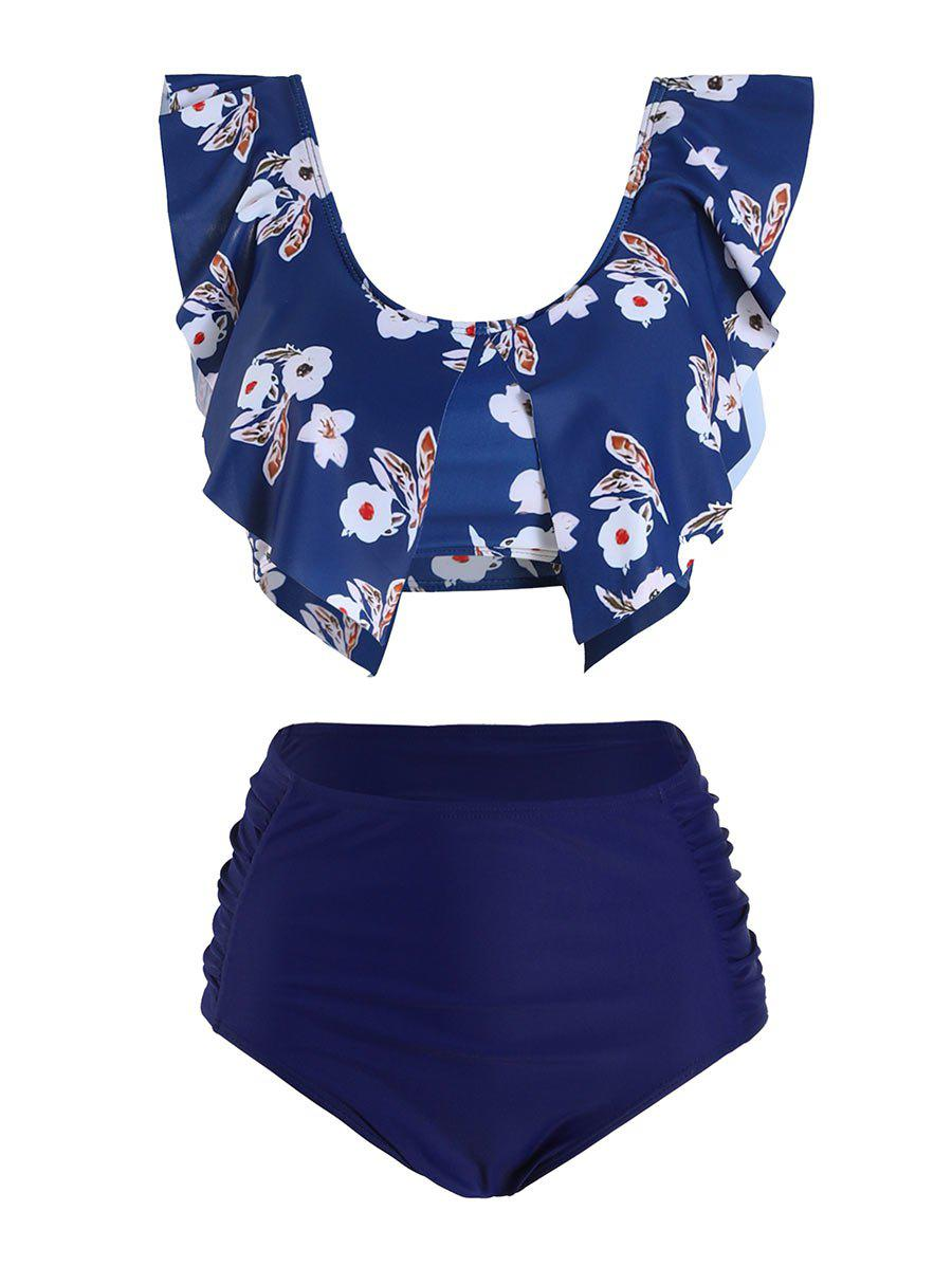 Floral Leaves Print Slit Tankini Swimsuit - DEEP BLUE 2XL