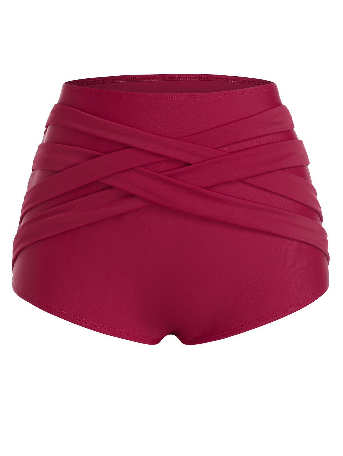 Plus Size High Rise Crossover Swim Bottom - RED WINE 4X