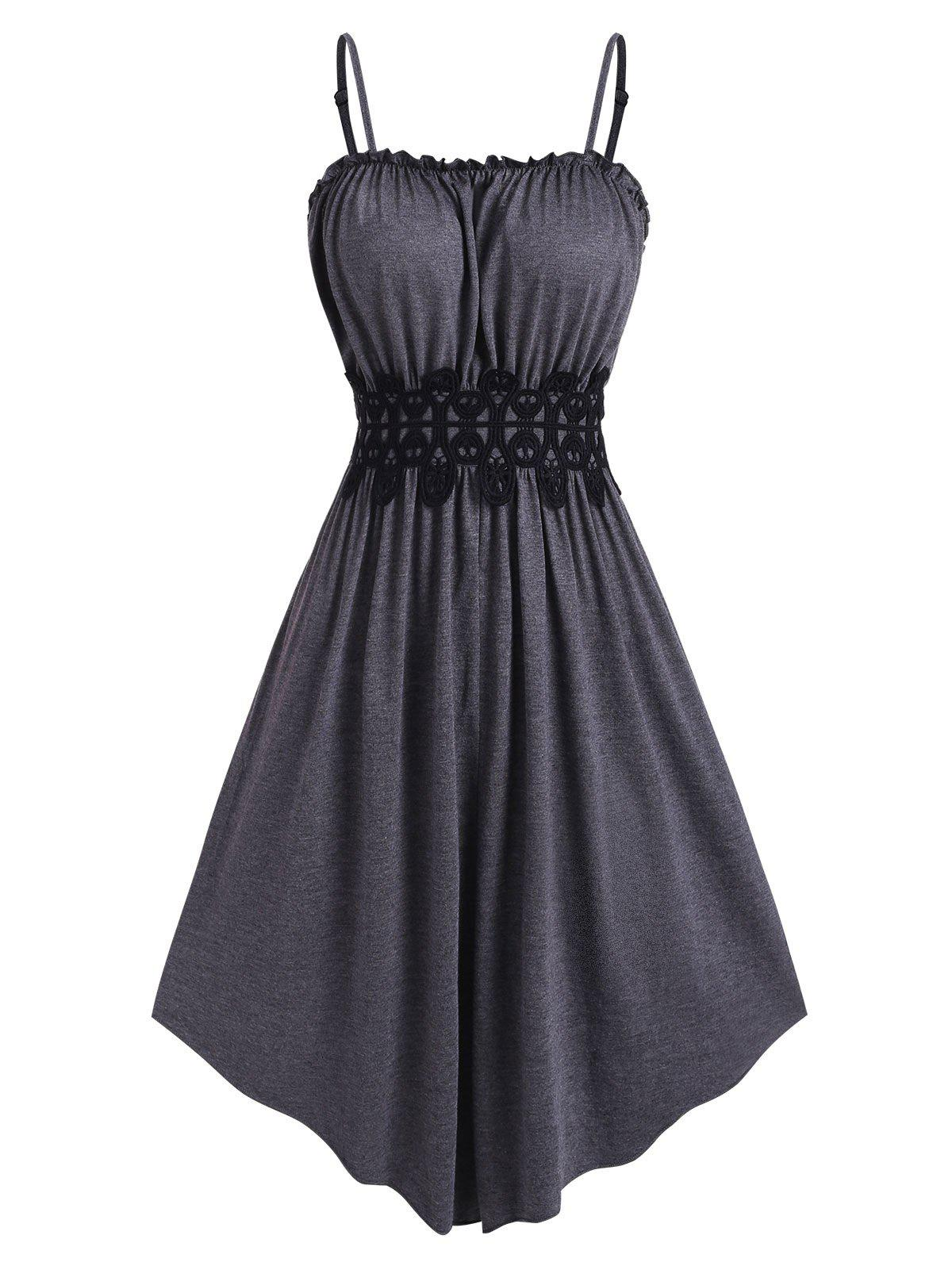 Frilled Lace Applique Cami Dress - CLOUDY GRAY XL